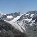 panorama a est dal mont blanc de cheilon al gruppo del rosa