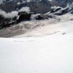 ripida discesa sul ghiacciaio