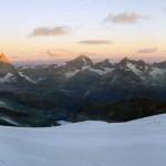 alba sui 4000 di zermatt dal ghiacciaio superiore