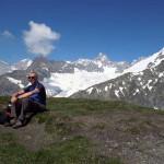 in vetta,a des mont dolent al centro l'aig triolet e ghiacciaio di pre de bar