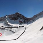 itinerario dal col entre deux sautes-nero salita normale,rosso salita sentiero estivo