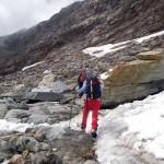 bivio traccia sul ghiacciaio